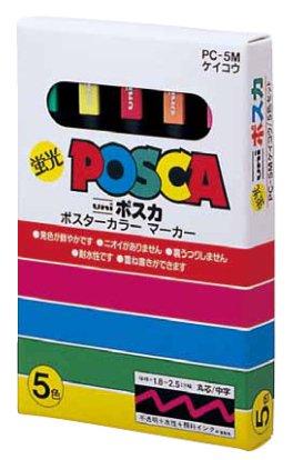 三菱鉛筆 ポスカ中字蛍光5色セット PC-5MK5C