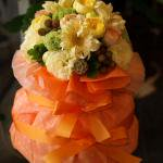 送料無料でお届け☆3段おむつケーキ「デラックス・オレンジ」