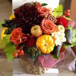 秋の実物たっぷり「シックな秋色アレンジメント」