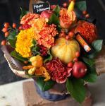 かぼちゃの入ったハロウィンアレンジメント「ハニーオレンジ」