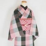 伊勢木綿 反物【ブロックチェック 6列】ピンク×グレー