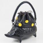 コシェルドゥ【ハリネズミ(黒)バッグ】黒地/イエロードット