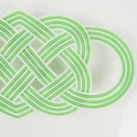 洒落水引【帯留め 七本結び 大】純白・緑色