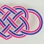 洒落水引【帯留め 七本結び 大】紺桔梗・牡丹色