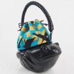 コシェルドゥ【カエル(黒)バッグ 】梅屋オリジナル西陣織 鳥ブルー