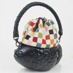 コシェルドゥ【金魚(黒)バッグ】梅屋オリジナル巾着 カラフルブロックレッド