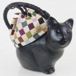 コシェルドゥ【猫(黒)バッグ 】梅屋オリジナル巾着 カラフルブロックパープル