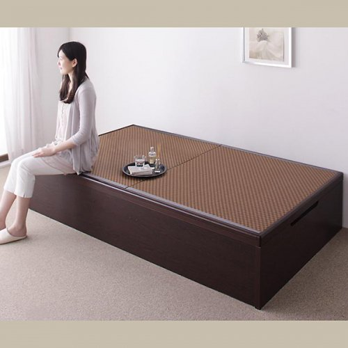 日本製・安心の品質!美草仕様ヘッドボードレス日本製タタミベッド【KMR】(大容量収納跳ね上げ式) 【5】