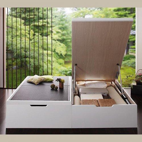 日本製・安心の品質!美草仕様ヘッドボードレス日本製タタミベッド【KMR】(大容量収納跳ね上げ式) 【7】