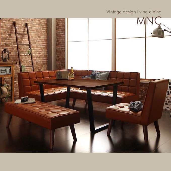 ヴィンテージデザイン・リビングダイニングテーブルセット【MNC】5点チェア・ベンチセット(テーブル幅120)