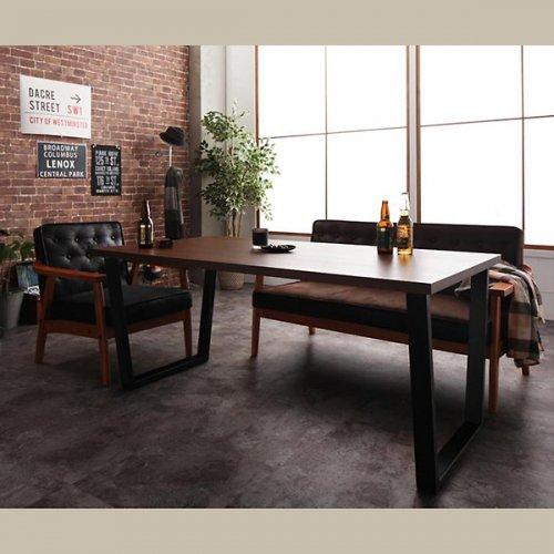 ヴィンテージデザイン!ソファーダイニングテーブルセット【BDX】3点セット 【5】