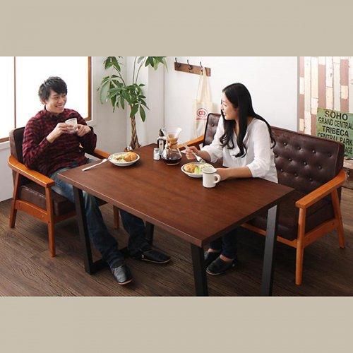 ヴィンテージデザイン!ソファーダイニングテーブルセット【BDX】3点セット 【7】