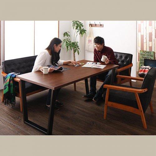 ヴィンテージデザイン!ソファーダイニングテーブルセット【BDX】3点セット 【8】