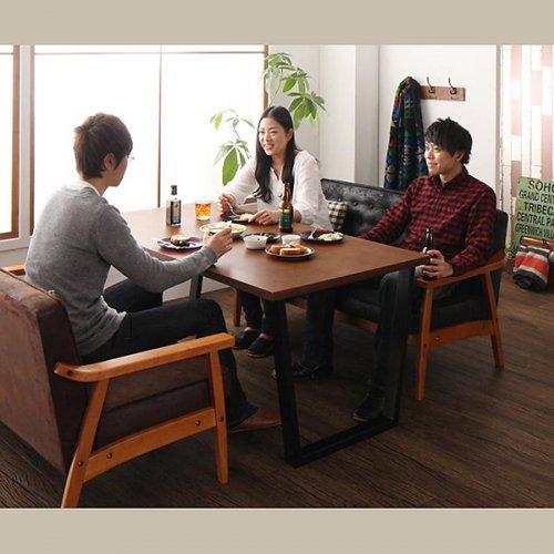 ヴィンテージデザイン!ソファーダイニングテーブルセット【BDX】3点セット 【9】
