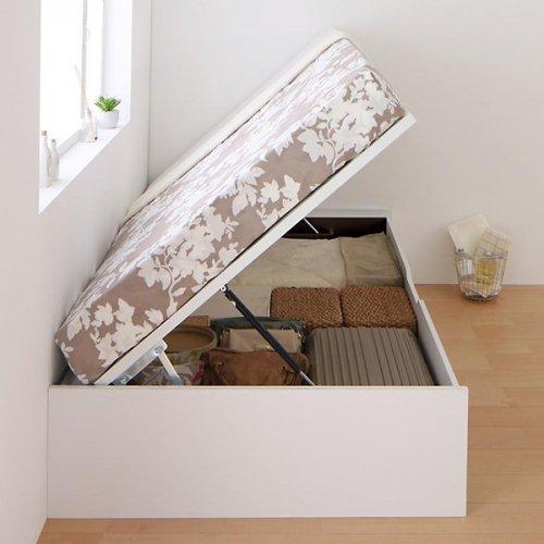 ヘッドボードレス跳ね上げ式大容量収納ベッド【ORM】(縦開き) 【3】