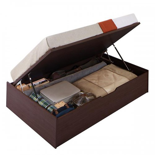 ヘッドボードレス跳ね上げ式大容量収納ベッド【ORM】(縦開き) 【4】