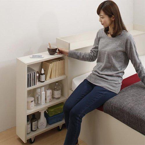 本棚付き跳ね上げ式大容量収納ベッド【MNI】(横開き) 【2】