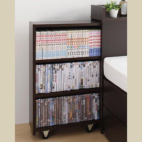 本棚付き跳ね上げ式大容量収納ベッド【MNI】(横開き) 【3】