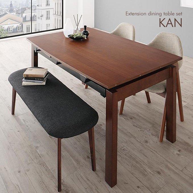 北欧風デザイン・エクステンションダイニングテーブルセット【KAN】4点セット
