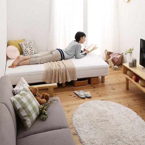 ショートサイズ2分割マットレスベッド(ボンネルコイルマットレス) 【2】