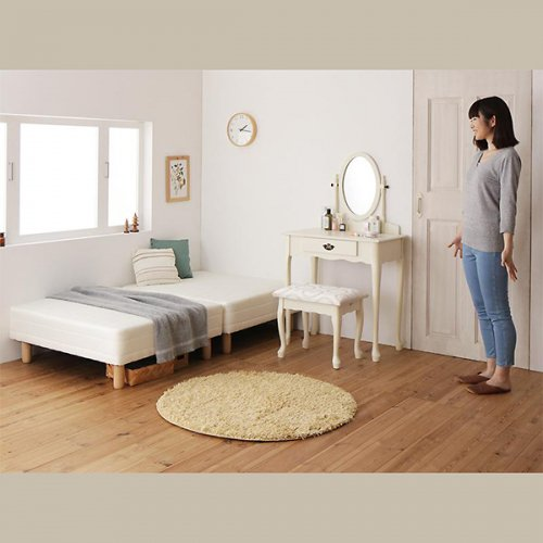 ショートサイズ2分割マットレスベッド(ボンネルコイルマットレス) 【3】