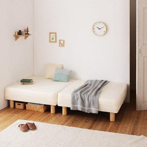 ショートサイズ2分割マットレスベッド(ボンネルコイルマットレス) 【5】
