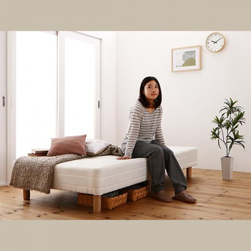 ショートサイズ2分割マットレスベッド(ボンネルコイルマットレス) 【7】