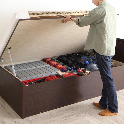 薄型ヘッドボード跳ね上げ式大容量収納ベッド【MTH】(アウトドアグッズ対応) 【2】