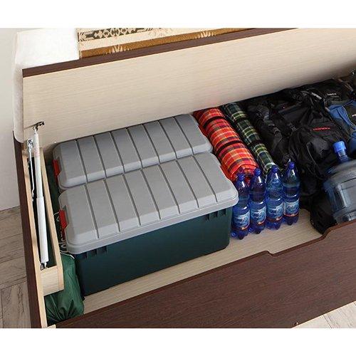 薄型ヘッドボード跳ね上げ式大容量収納ベッド【MTH】(アウトドアグッズ対応) 【4】