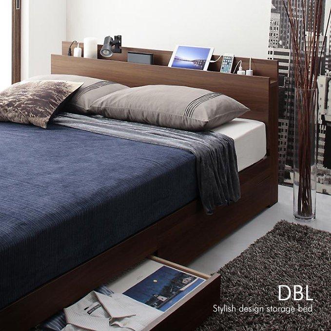 薄型スリムヘッドボード付き収納ベッド【DBL】
