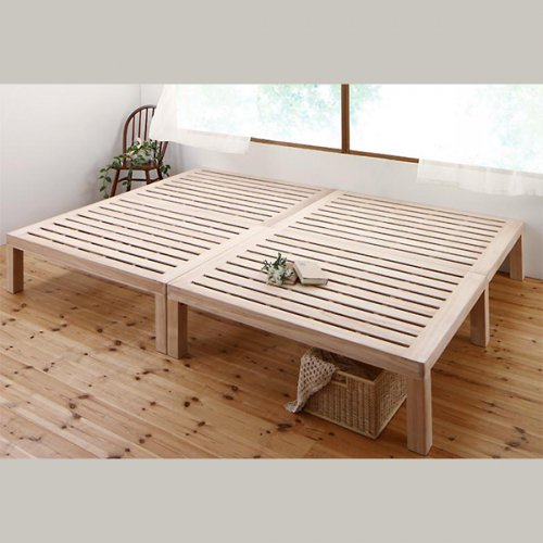 ワイドに組み合わせできる総桐製ナチュラルベッド【KMK】(すのこ仕様) 【2】