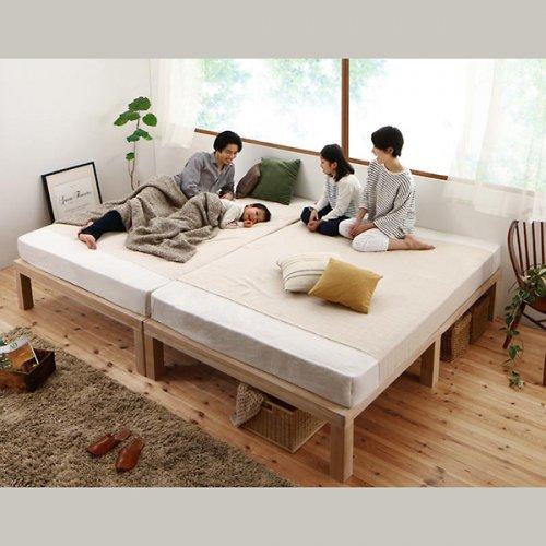 ワイドに組み合わせできる総桐製ナチュラルベッド【KMK】(すのこ仕様) 【3】