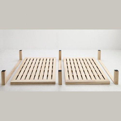 ワイドに組み合わせできる総桐製ナチュラルベッド【KMK】(すのこ仕様) 【22】
