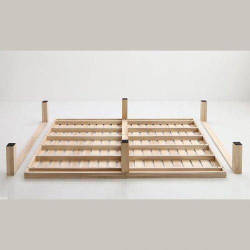 ワイドに組み合わせできる総桐製ナチュラルベッド【KMK】(すのこ仕様) 【23】