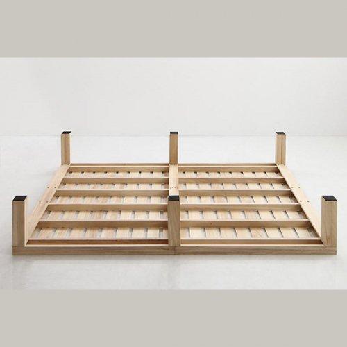 ワイドに組み合わせできる総桐製ナチュラルベッド【KMK】(すのこ仕様) 【24】