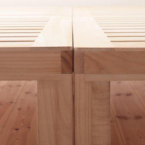 ワイドに組み合わせできる総桐製ナチュラルベッド【KMK】(すのこ仕様) 【9】