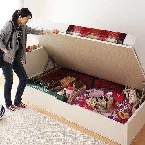 日本製フレーム跳ね上げ式大容量収納ベッド【FRD】(横開き) 【4】