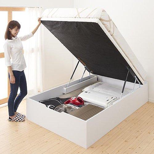 通気性のある床板!ヘッドボードレス跳ね上げ式大容量収納ベッド【NMS】(縦開き) 【2】