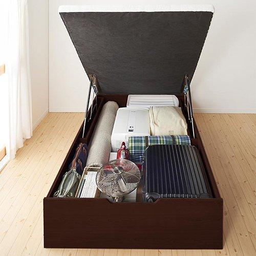 通気性のある床板!ヘッドボードレス跳ね上げ式大容量収納ベッド【NMS】(縦開き) 【3】