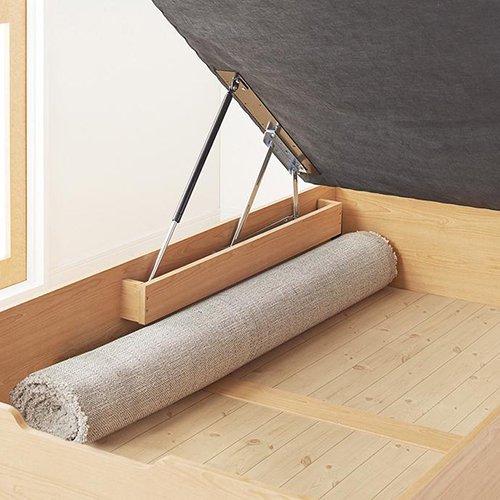通気性のある床板!ヘッドボードレス跳ね上げ式大容量収納ベッド【NMS】(縦開き) 【7】