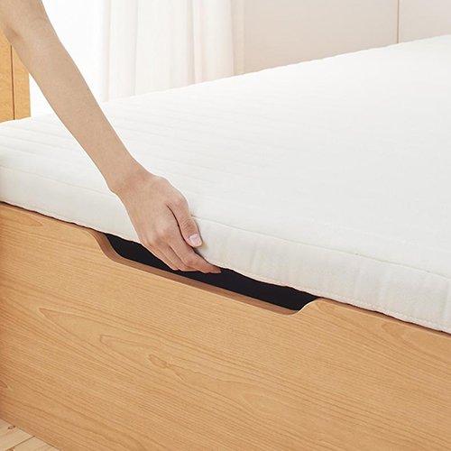 通気性のある床板!ヘッドボードレス跳ね上げ式大容量収納ベッド【NMS】(縦開き) 【8】