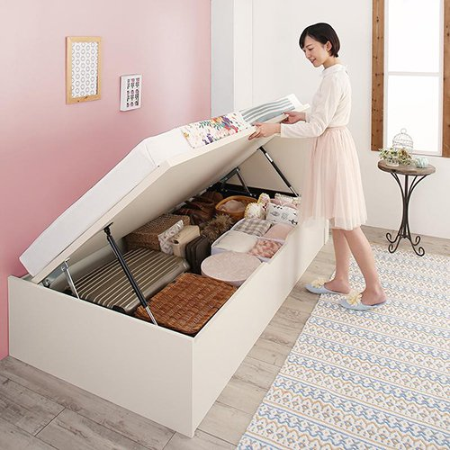 180cmショート丈跳ね上げ式大容量収納ベッド【AVR】(横開き) 【2】