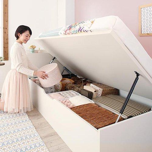 180cmショート丈跳ね上げ式大容量収納ベッド【AVR】(横開き) 【3】