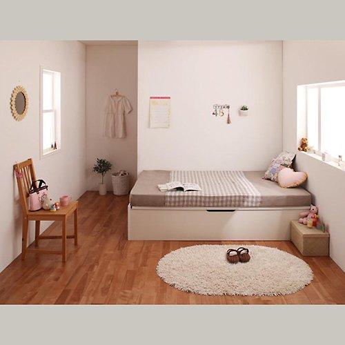 〈組立設置サービス付き〉日本製・安心の品質!ヘッドボードレス跳ね上げ式収納ベッド【RGL】(横開き) 【5】