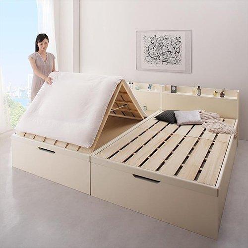 布団が干せる!跳ね上げ式大容量収納すのこベッド【LFC】(フレームのみ) 【5】