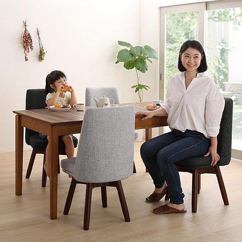 伸縮テーブル&回転チェア!ウォールナットダイニング【WLK】4点セット 【2】