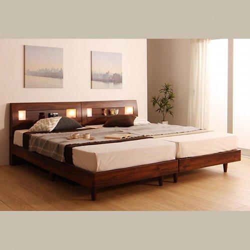 2台連結ワイドサイズで使用可能!おしゃれな木目柄のデザインデザインベッド【MBL】 【2】