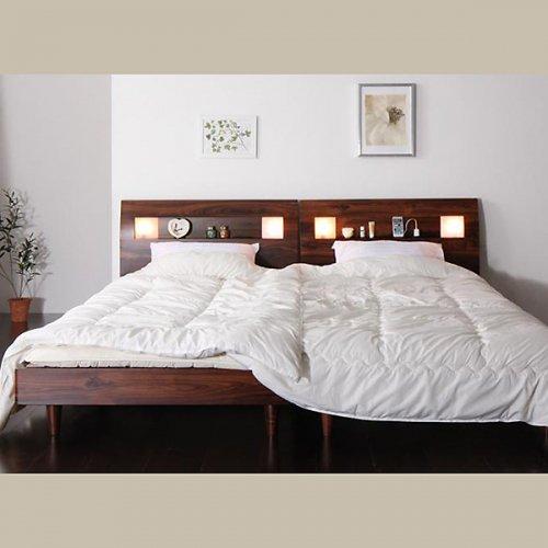 2台連結ワイドサイズで使用可能!おしゃれな木目柄のデザインデザインベッド【MBL】 【11】
