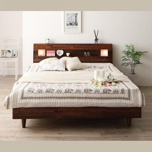 2台連結ワイドサイズで使用可能!おしゃれな木目柄のデザインデザインベッド【MBL】 【13】