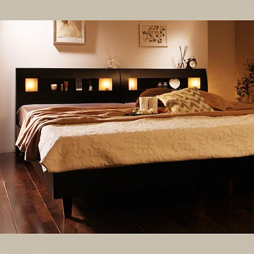 2台連結ワイドサイズで使用可能!おしゃれな木目柄のデザインデザインベッド【MBL】 【15】